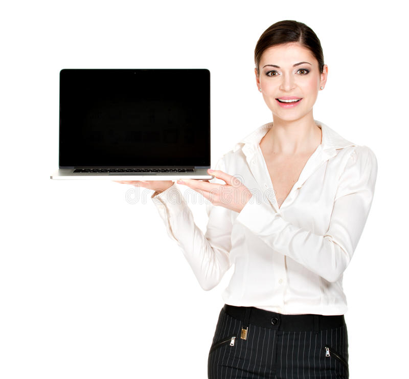 Download Woman Holds Laptop With Blank Screen Stock Photo - Image: 30197648