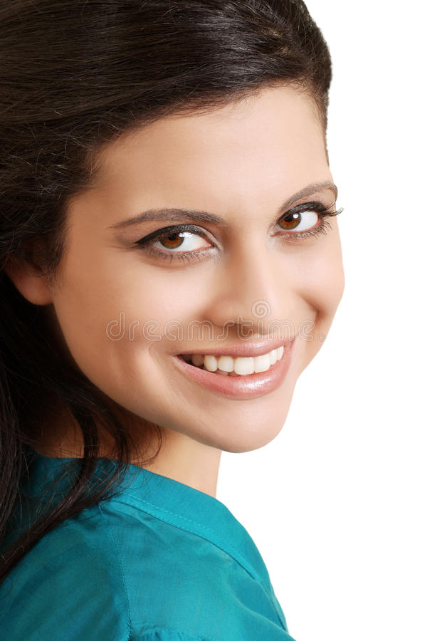 Portrait smiling hispanic woman with blue top royalty free stock photos