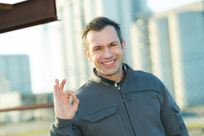 Portrait smiling male architect outside building stock photography
