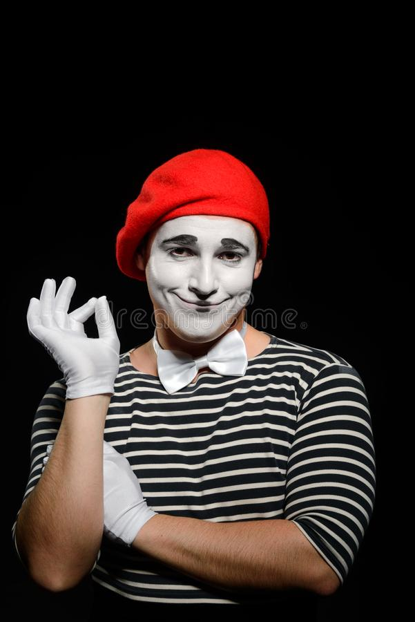 Portrait of smiling male mime royalty free stock photo