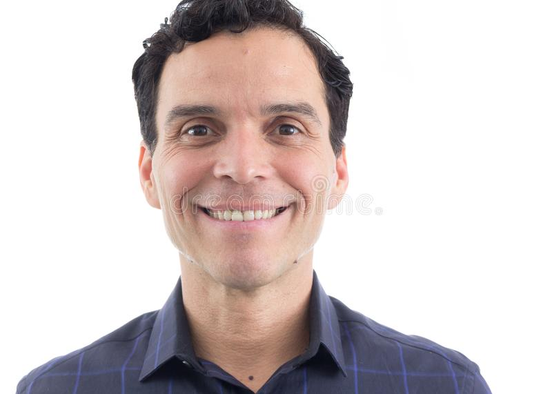 Portrait of smiling man. He is standing. Isolated on white background.. stock photos