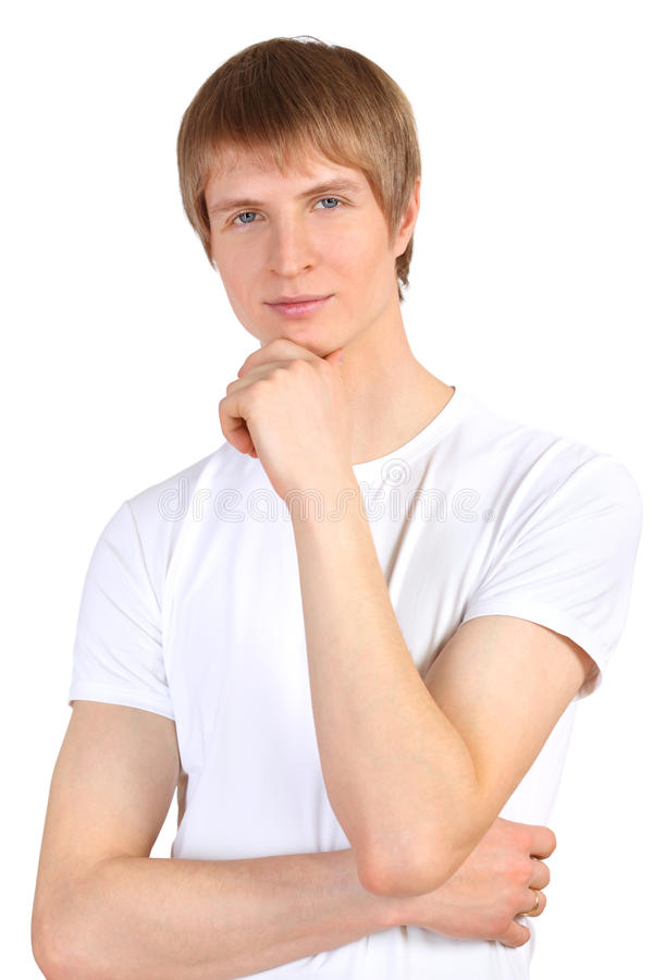 Download Portrait Of Smiling Man Wearing White T-shirt Stock Photo - Image: 23996586