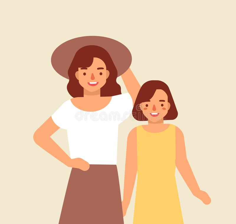 Portrait of smiling mother in hat and her daughter. Joyful adorable mom and child. Happy family. Cute funny cartoon stock illustration