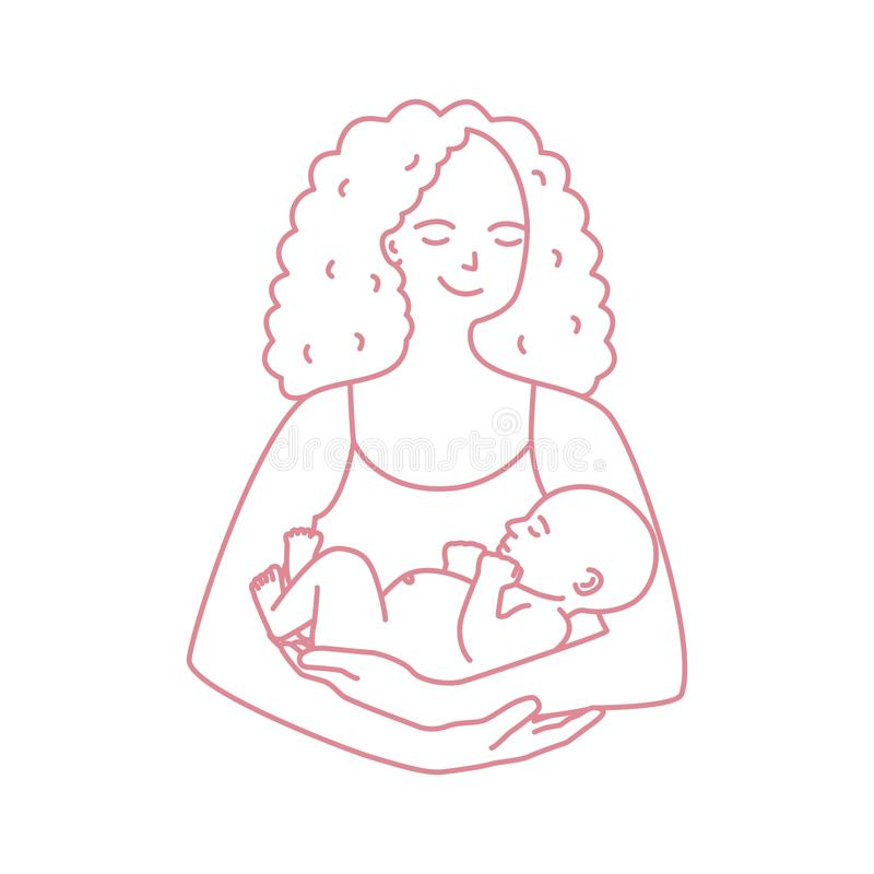 Portrait of smiling mother holding baby drawn with contour line on white background. Cheerful mom carrying newborn child stock illustration