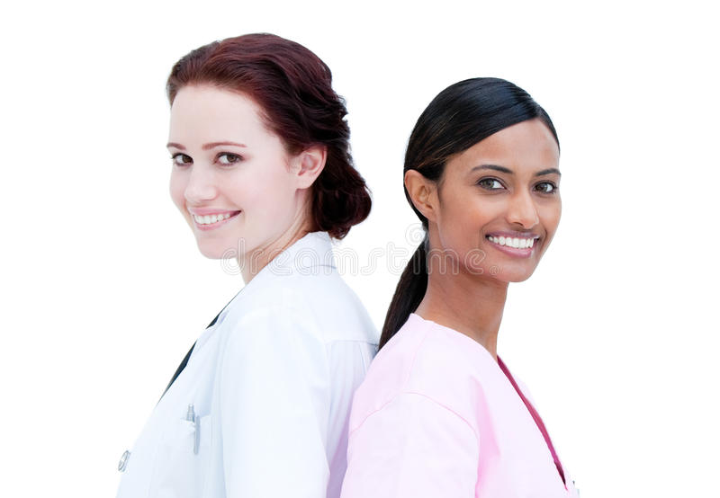 Download Portrait Of Smiling Nurse And Doctor Standing Stock Photo - Image: 14024260