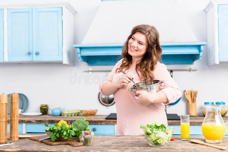 portrait of smiling overweight woman royalty free stock photo