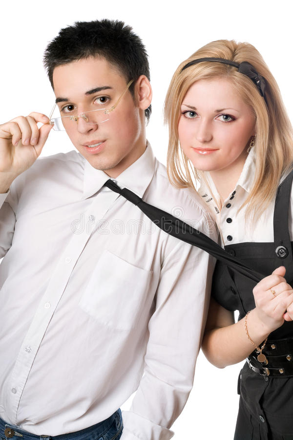Download Portrait Of Smiling Playful Student Pair. Isolated Stock Photo - Image: 22727404