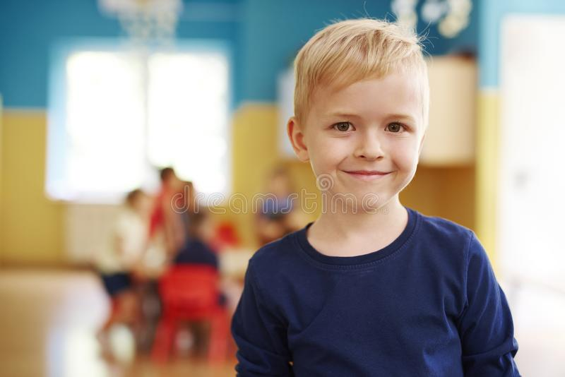 Portrait of smiling preschool boy. Portrait of smiling boy in the preschool royalty free stock photography