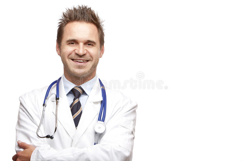 Portrait of smiling self confident medical doctor royalty free stock photos