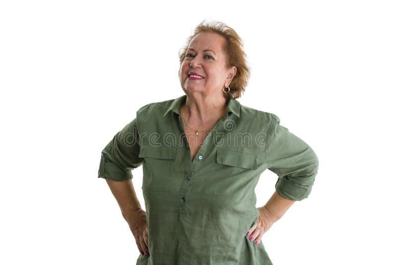 Portrait of smiling self-confident senior woman stock photos
