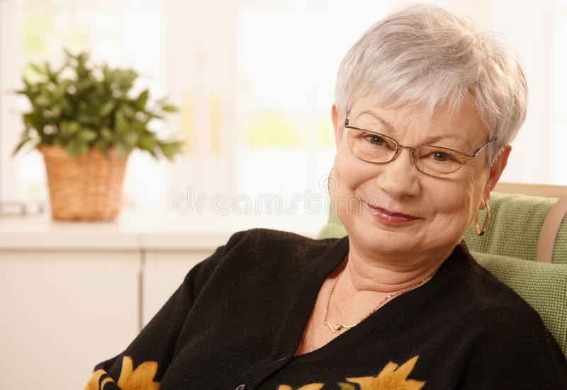 Portrait of smiling senior lady. Wearing glasses, looking at camera stock image