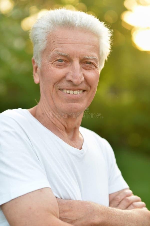 Portrait of smiling senior man in park royalty free stock image