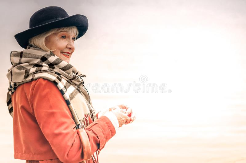 Portrait of a smiling senior woman on the walk stock images