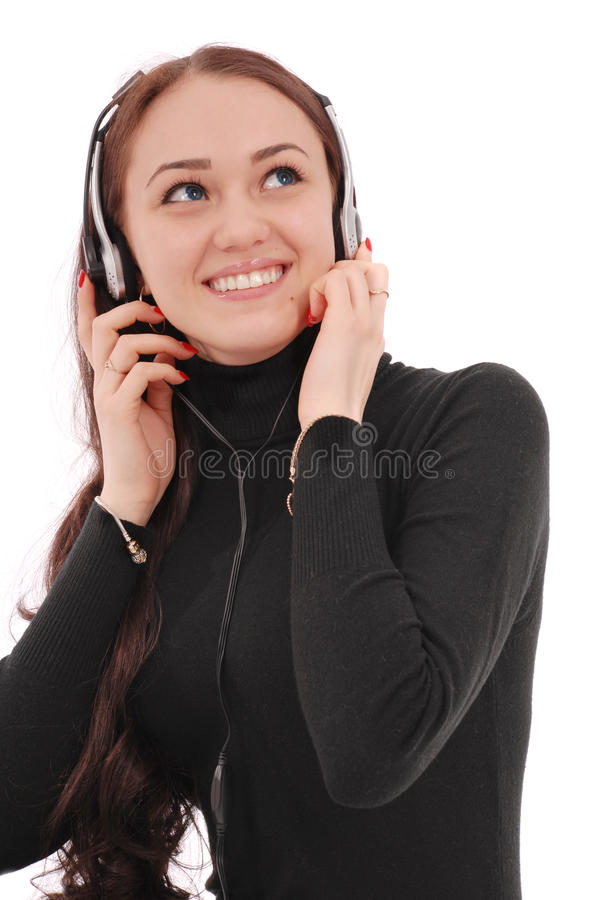 Portrait smiling teenage girl with headphones. Isolated on white royalty free stock photography