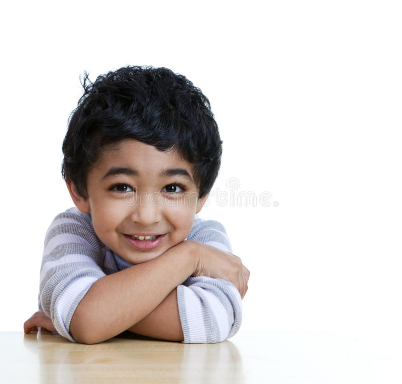 Portrait of a Smiling Toddler. Isolated, White royalty free stock photography