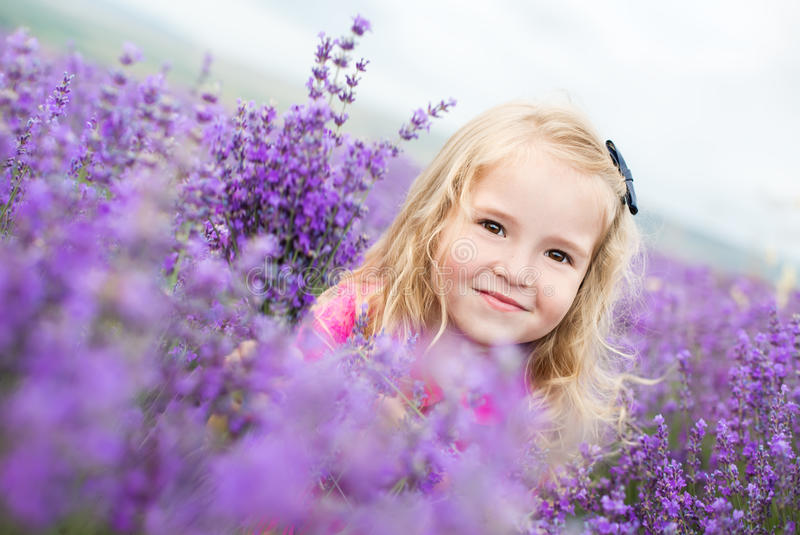Portrait smiling toddler girl. In lavender field stock photography
