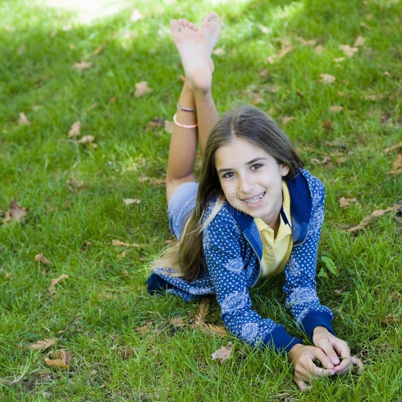 Portrait of Smiling Tween Girl stock photo