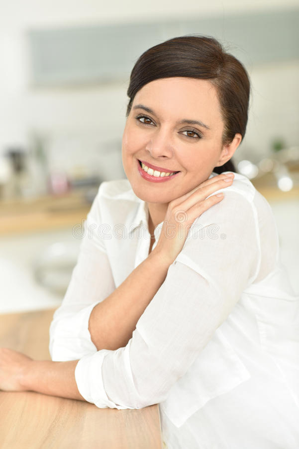 Portrait of smiling woman stock photos