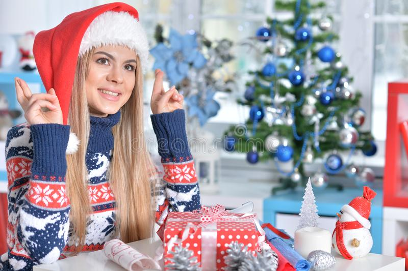 Portrait of cute smiling woman with Christmas gift stock images
