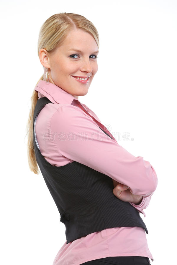 Portrait of smiling woman with crossed arms royalty free stock image