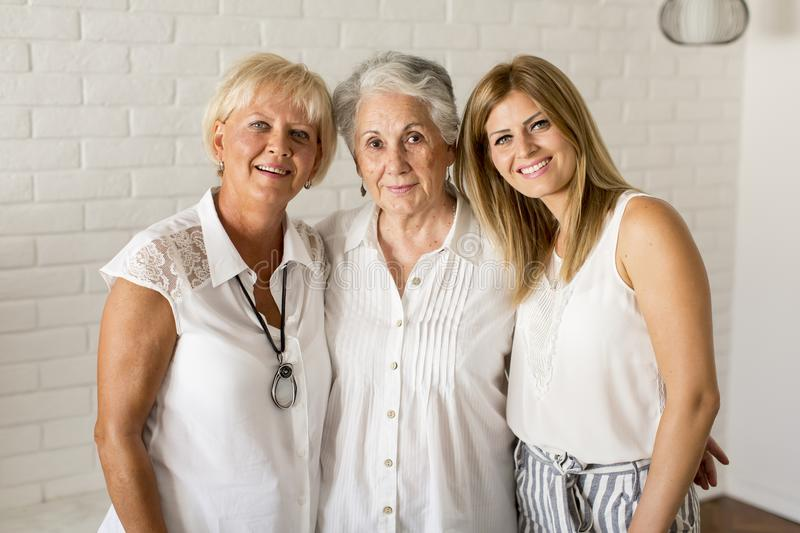 Portrait of a smiling woman , grandmother and granddaughter stock photos
