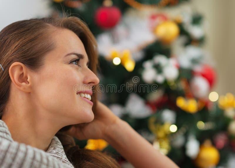 Download Portrait Of Smiling Woman Near Christmas Tree Stock Image - Image of copy, season: 28067251