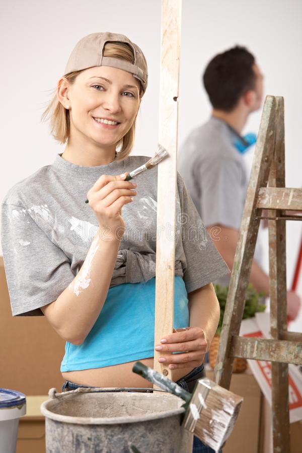 Download Portrait Of Smiling Woman Painting Royalty Free Stock Image - Image: 17724776