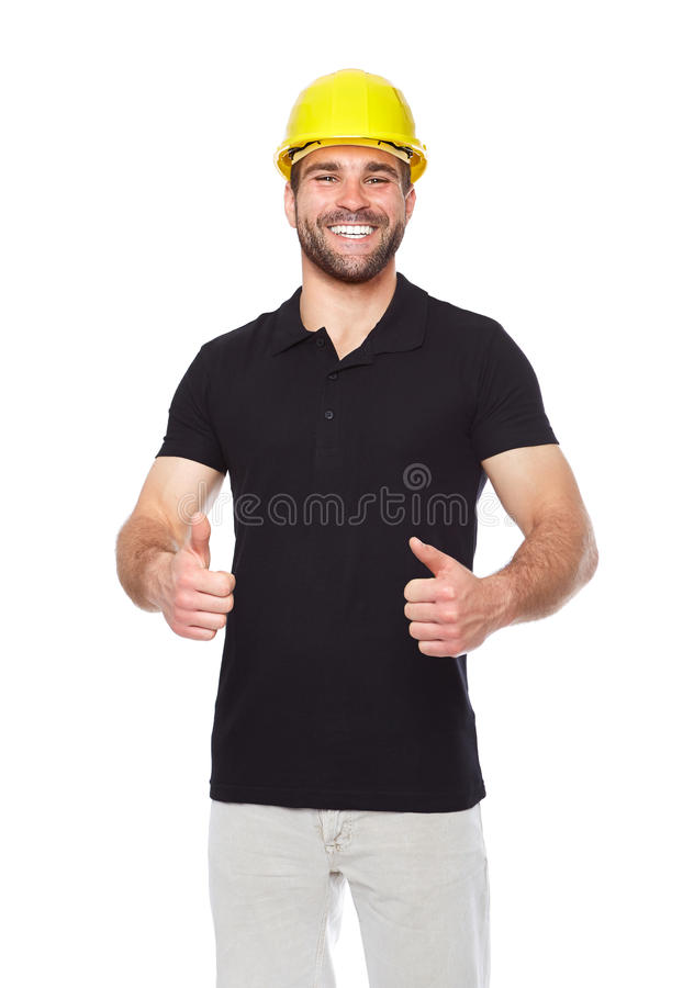 Portrait of smiling worker in a black polo shirt. Isolated on white background stock photo