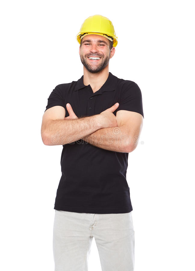 Portrait of smiling worker in a black polo shirt. Isolated on white background stock photos