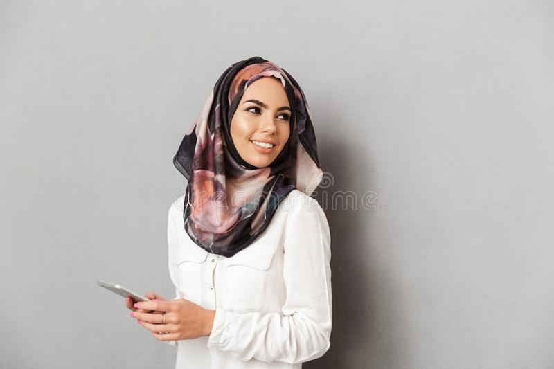 Portrait of a smiling young arabian woman stock images