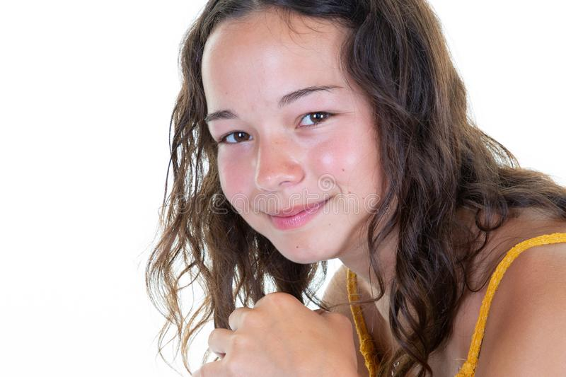 Portrait smiling young girl teen brunette beauty stock photography