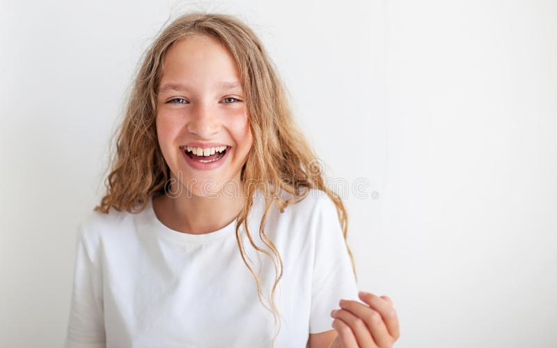 Portrait smiling young girl teen royalty free stock photo
