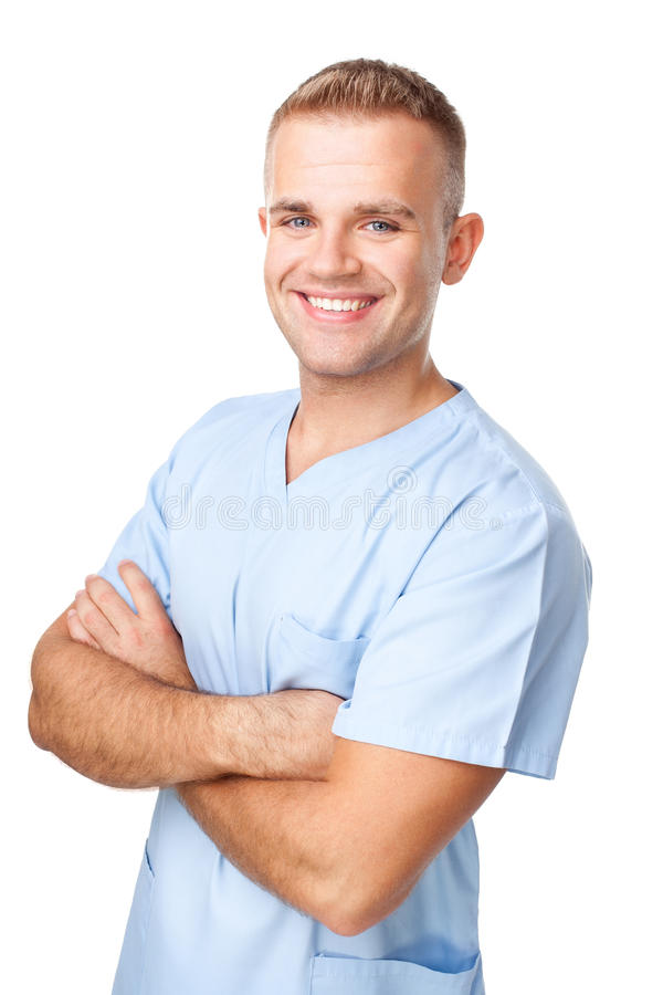 Portrait of smiling young male nurse royalty free stock images