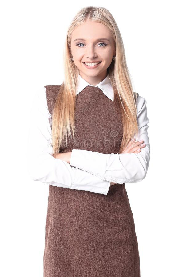 Portrait of a smiling young woman assistant. stock photography
