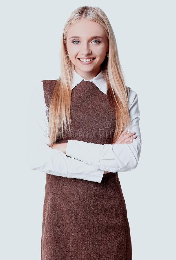 Portrait of a smiling young woman assistant. royalty free stock photography