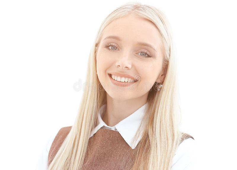 Portrait of a smiling young woman assistant. royalty free stock photos