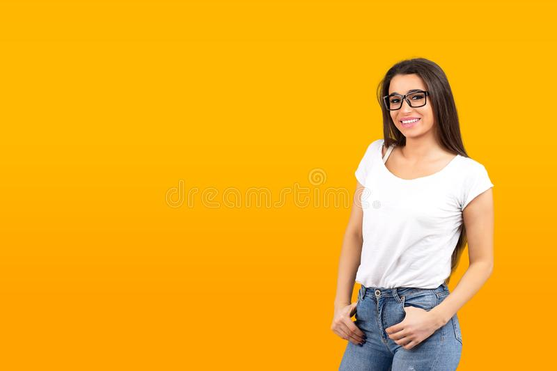 Portrait of a smiling young woman royalty free stock images