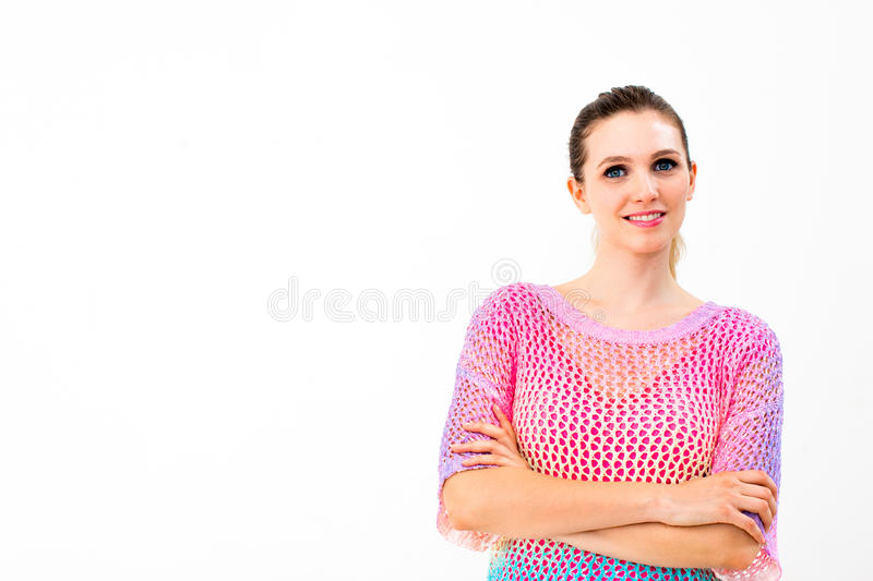 Portrait of smiling young woman stock images