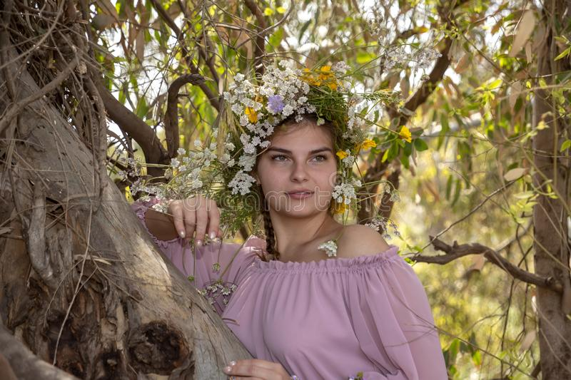 Portrait of a smiling young woman in a wreath of flowers close up leaning on a tree trunk royalty free stock photography