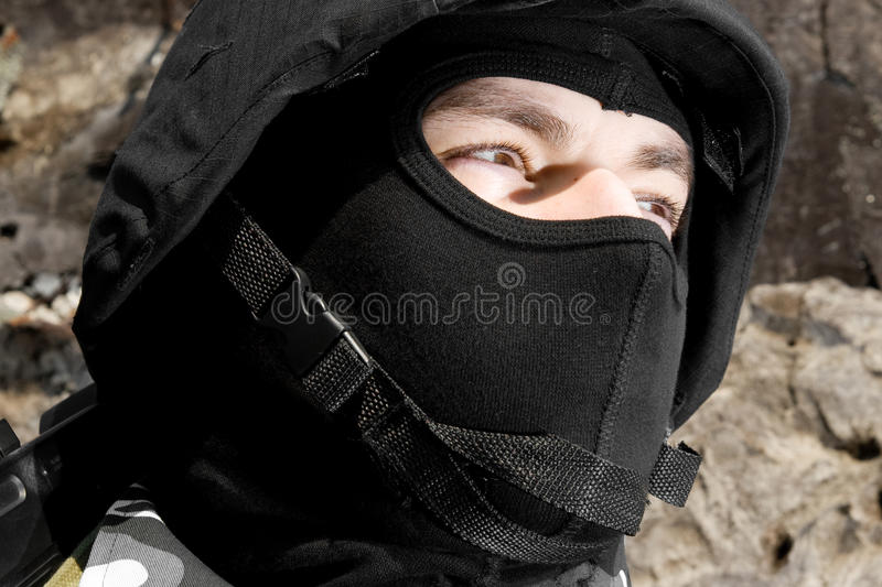 Portrait of a soldier in mask and helmet stock photos