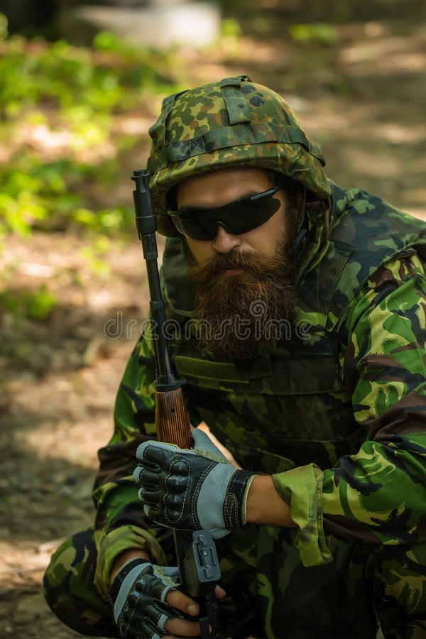 Portrait of soldier in sunglasses royalty free stock photos