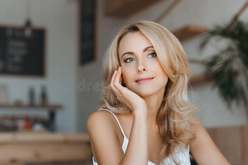 portrait songeur de femme âgée beau par milieu image stock