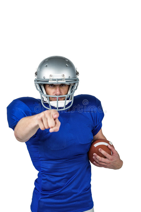 Portrait sports player pointing. Against white background stock photos