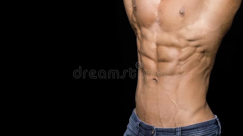 Portrait of sporty strong muscle. Sport workout bodybuilding motivation concept. naked torso, six pack abs. Male royalty free stock images