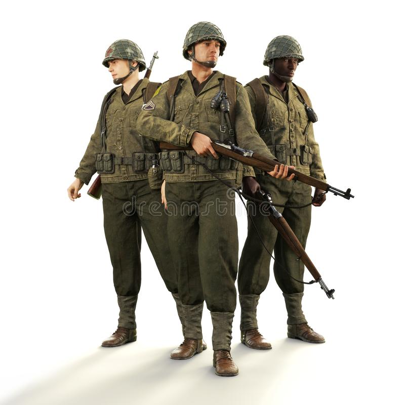 Portrait of a squad of uniformed world war 2 American combat soldiers on an isolated white background. 3d rendering royalty free illustration