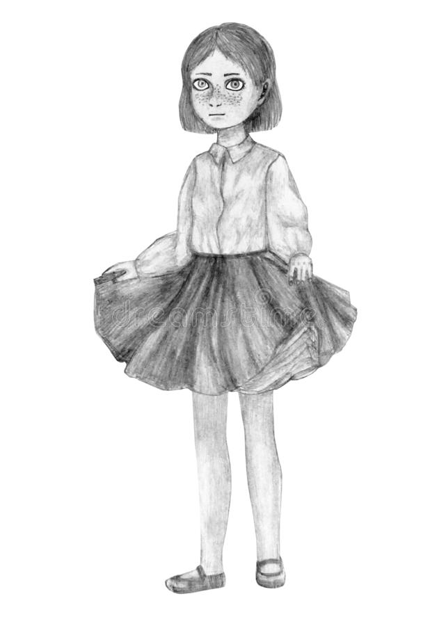 Portrait of a standing little girl in a lush skirt pencil children`s artwork stock images