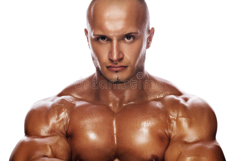 Portrait of a stern bodybuilder royalty free stock photography