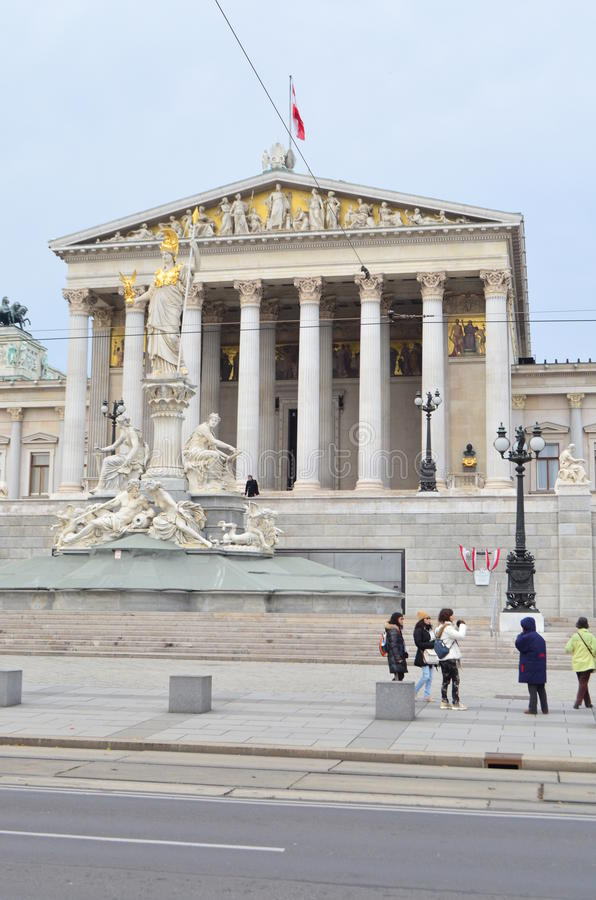 Portrait Street View of Austrian Parliament Building in Vienna, Austria. A Portrait Street View of Austrian Parliament Building in Vienna, Austria stock image
