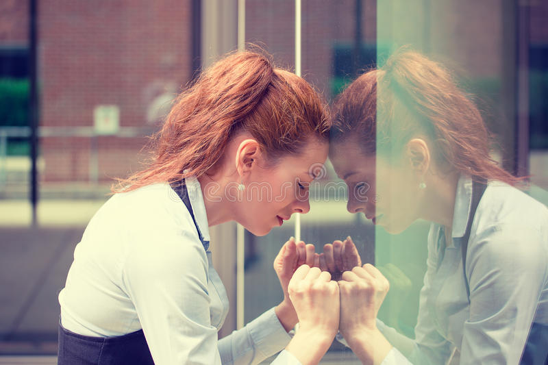 Portrait stressed sad young woman outdoors. Urban life style stress royalty free stock photos