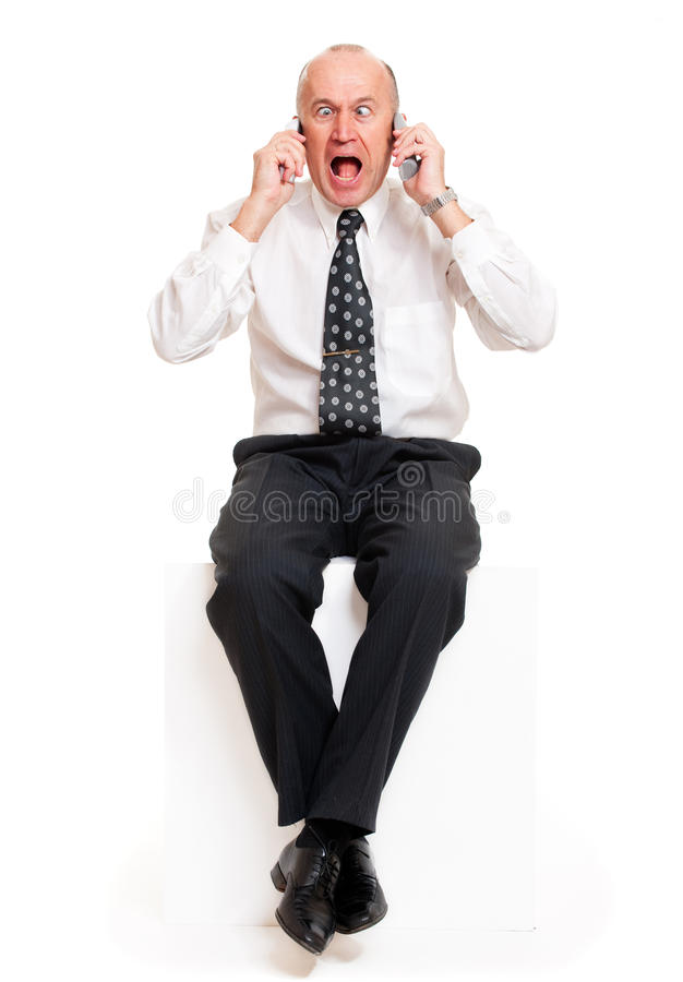 Portrait of stressed telephonist stock images